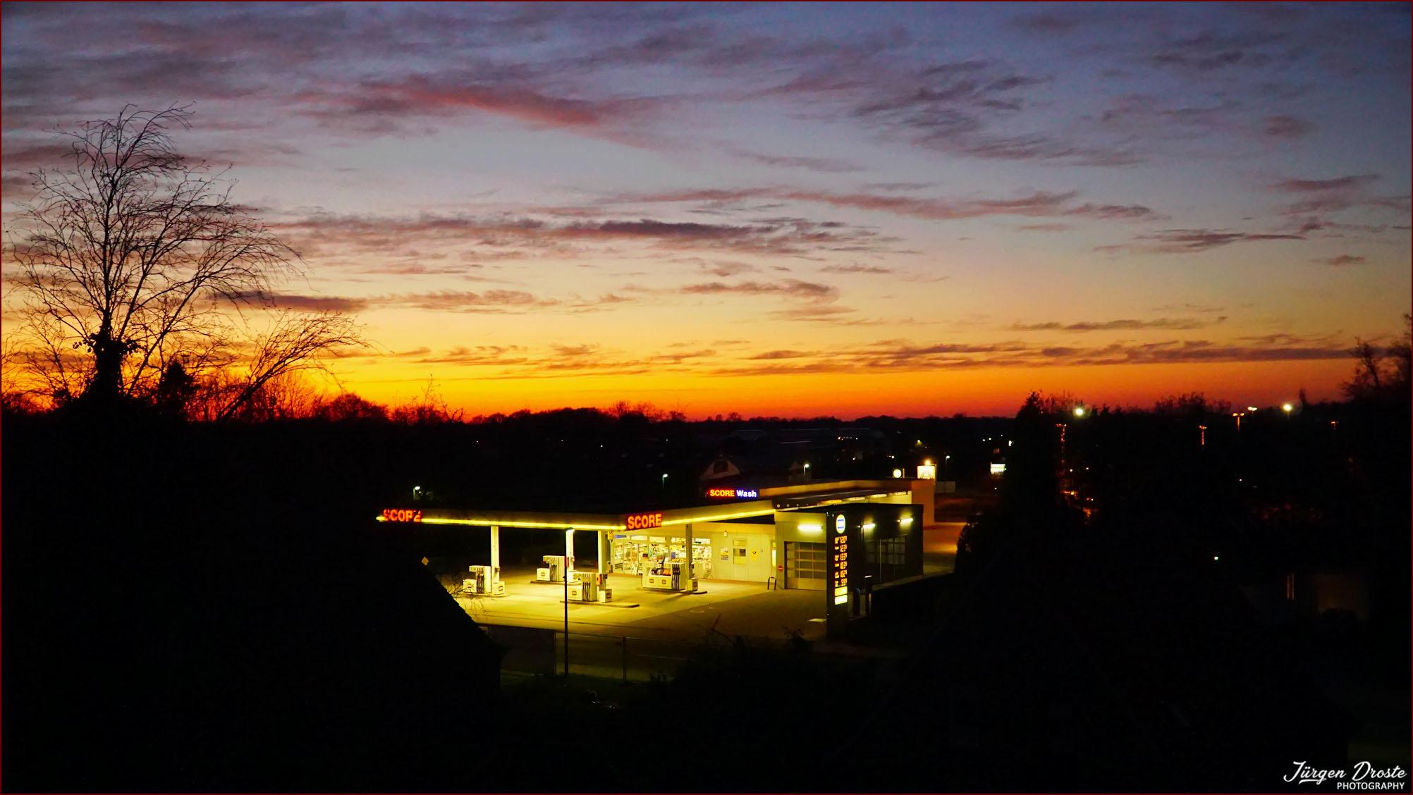 Blick von unserer Dachterasse in den Sonnenuntergang